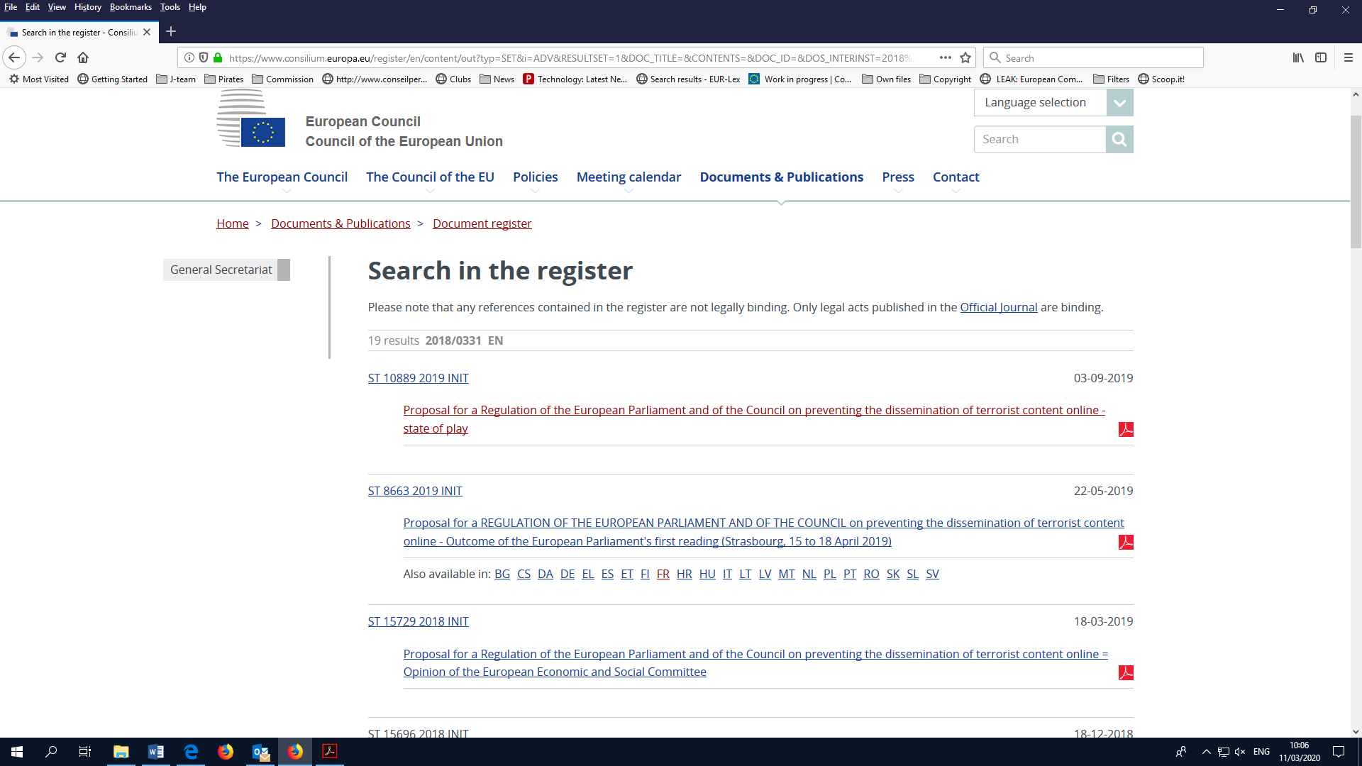 Search result in Council's document register