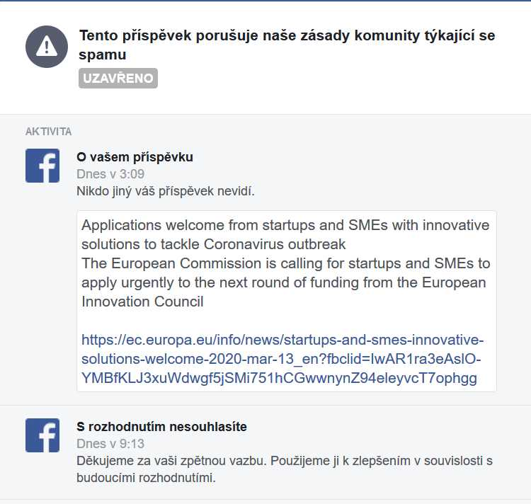 Facebook evaluated the post as spam